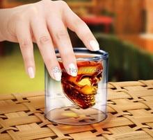 Creative Christmas gift 84pcs Lot Pirates DOOMED double glass Crystal Skull Shot Wine Cup Mug