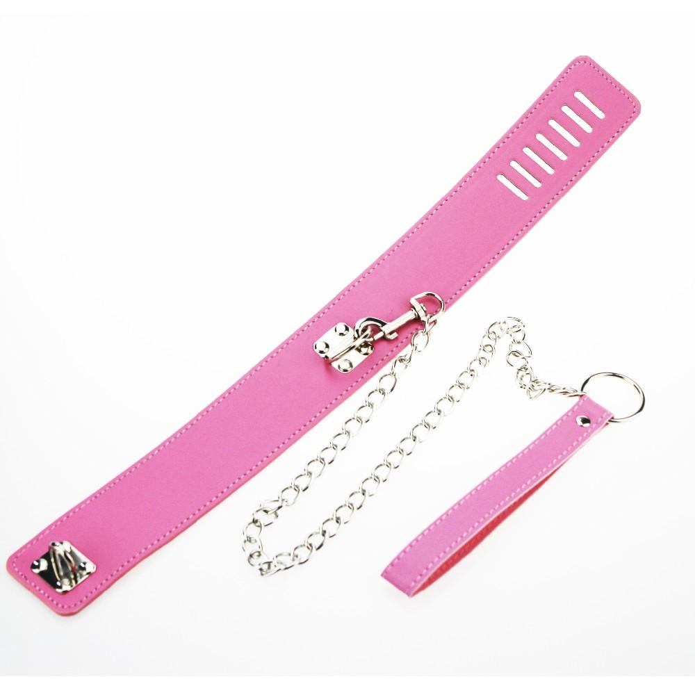 BDSM Sexy Pink PU Leather Sex Collar Lock Tie neck Leash Bondage Toys For Sex Games cosplay Erotic Posture Juguetes Eroticos 2