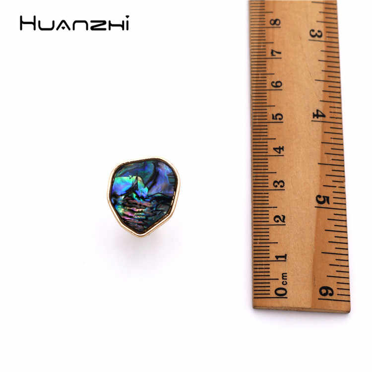 HUANZHI Exaggeration เรขาคณิต Dark Blue Abalone Shell แหวนโลหะโลหะผสมแหวนนิ้วมือสำหรับผู้หญิงเครื่องประดับของขวัญ
