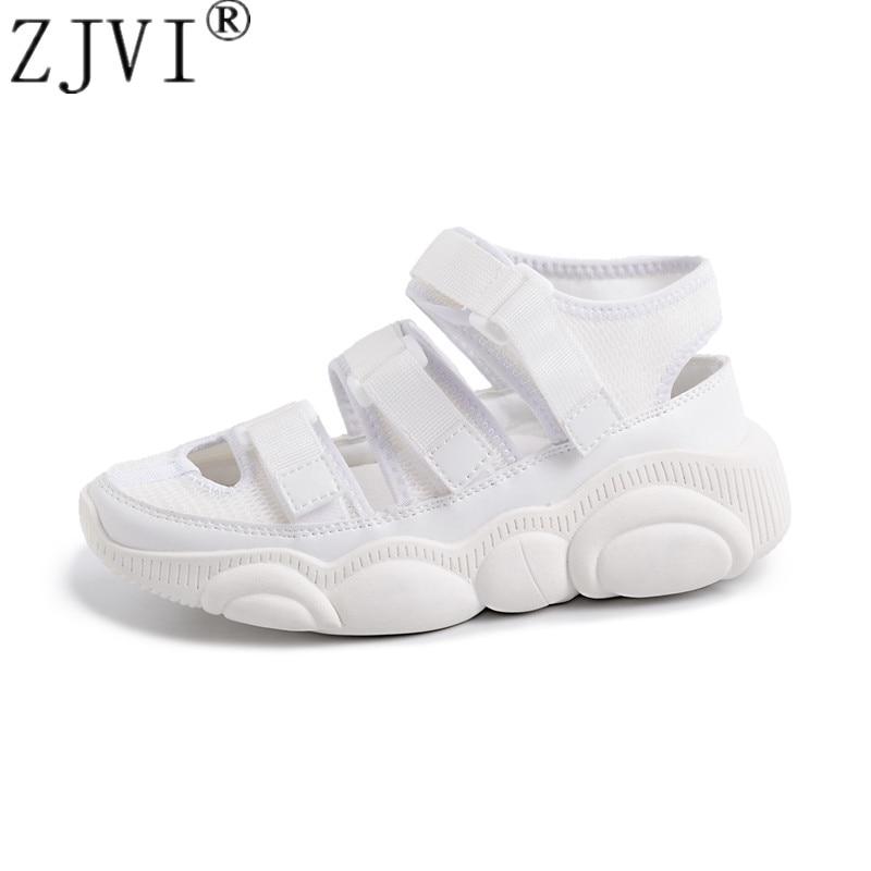 ZJVI women summer platform sandals genuine leather woman fashion flats sneakers white wedges heels shoes sandalias