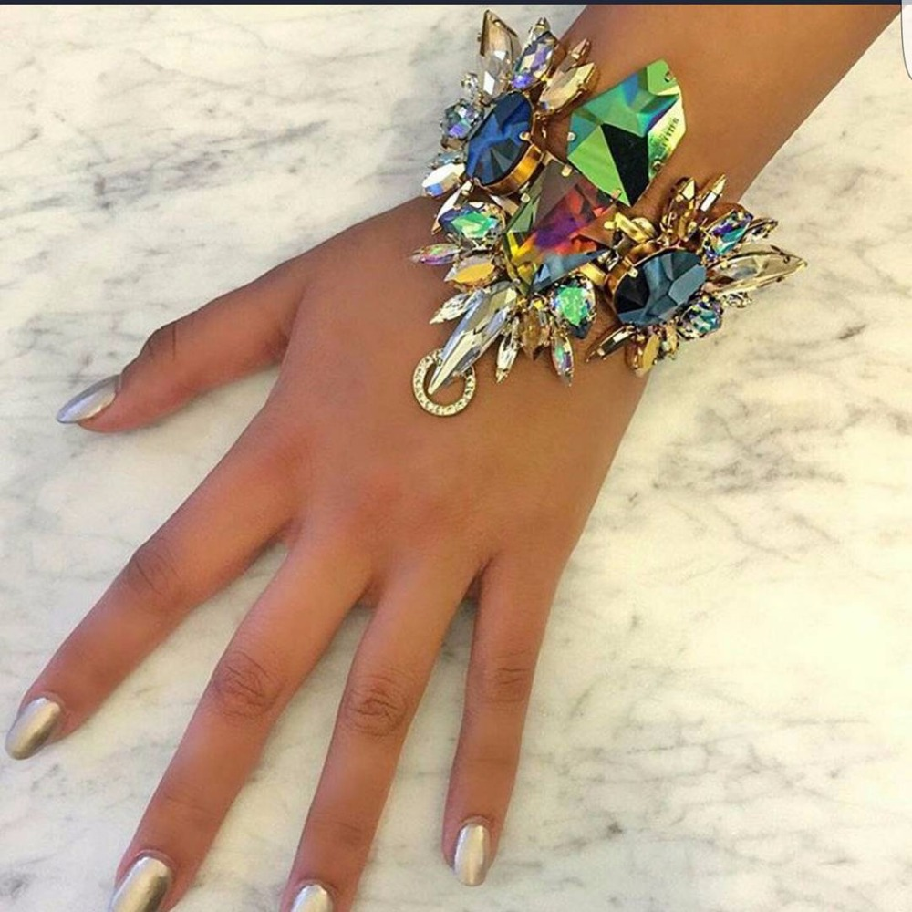 2017 Australia Beach Vacation Luxury Sexy Crystal Anklets Sandals For Women Bohemian Blue Glass Bracelets JURAN Fashion Jewelry