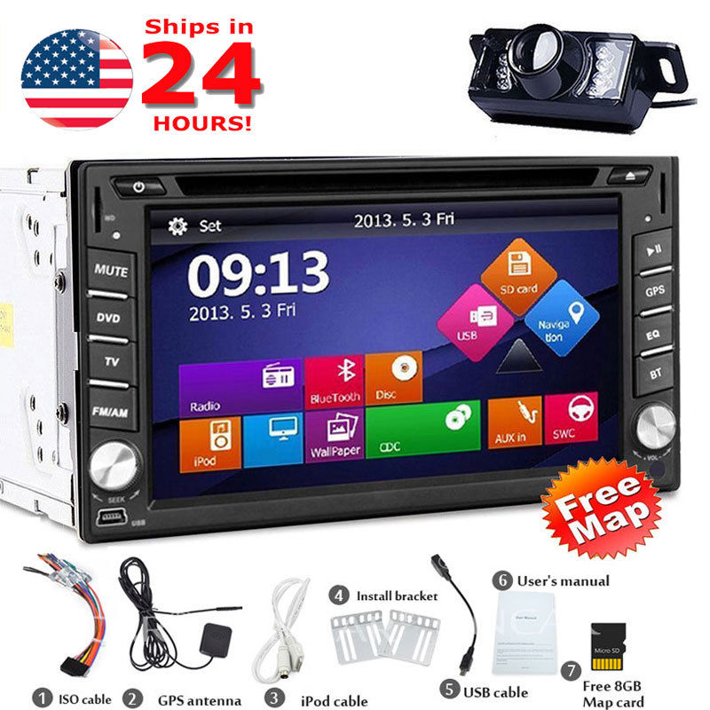 Backup Camera + 6.2 HD Double 2 Din Car Stereo Radio DVD MP3 Player GPS Bluetooth in dash Built-in Microphone, Car logo Setup 2 din car dvd frame dashboard kits front bezel radio frame adaper dvd cover dash trim kit for kia rio 5 door rhd double din