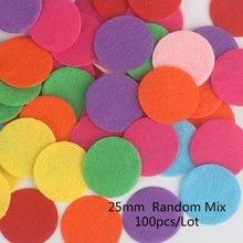 100 pçs 15/20/25/30mm redonda cor misturada feltro tecido almofadas disco de pano diy costura vestuário decoração acessórios