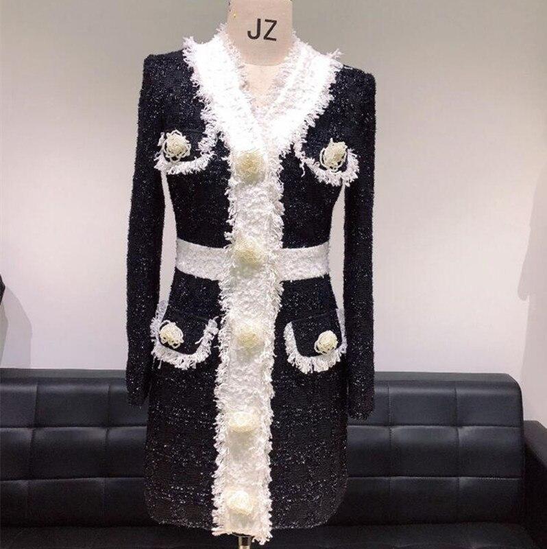 Высокое качество подиумное платье 2019 женское элегантное винтажное жемчужное цветочное пуговицы шерстяное платье весна осень длинный рука