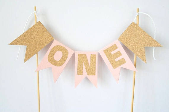 1st Birthday Cake Bunting Pink Gold ONE Topper Banner Hot Age Number Baby Shower Party Smash Decoration Photo Shoot