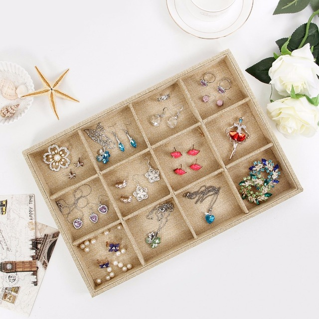 Sack Cloth 12 Grid Jewelry Tray Stackable Necklace Display Showcase
