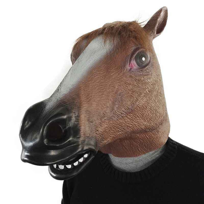 2018 маска для головы лошади вечерние костюмы для Хэллоуина театральная Новинка латексная маска лошади костюм животного Вечерние Маски для инструментов