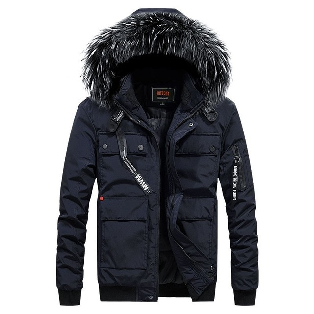 2018 New Mens Winter Casual Warm Coats Thicken Down Parkas Short Bomber Fake Fur Collar Solid Color High Quality Men Jacket Coat