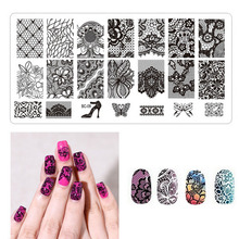 1 PCS 6*12CM Nail Art Templates Stencils Lace Flower Image Steel Plates DIY Stamping Tools  BC01-10