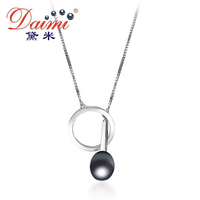 DAIMI 9-10mm Tear Drop Freshwater Pearl Pendant In 925 Sterling Silver Chain Pen