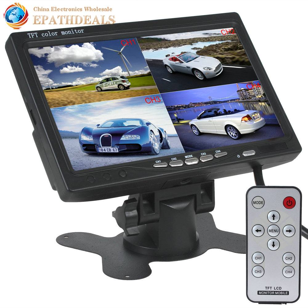 7 Inch TFT LCD Auto Car Rear view Rearview Monitor 4 Video Input + Automatic Identify Input Signal with Stand-alone Headrest