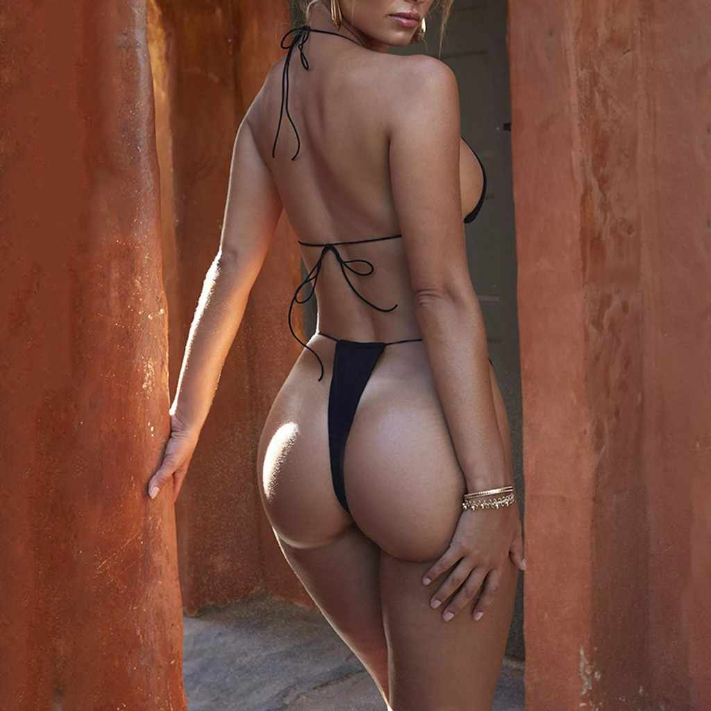 f569f2ae762 ... Biquini 2019 Swimwear Women Solid Halter Sexy Bikinis Set High Waist Strap  Sexy Two-Piece ...