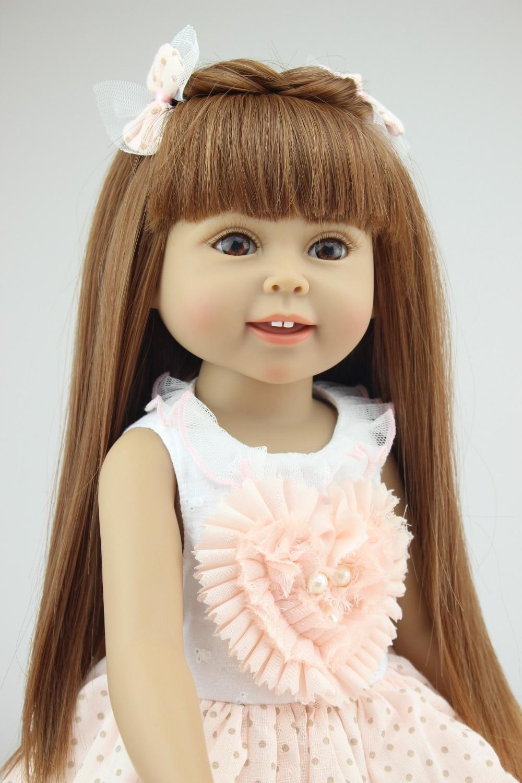 GIRL Brown Long Hair Pink Cute Dress