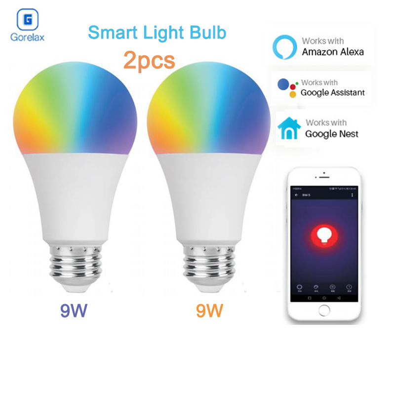 2Pcs/Pack 9W E27 Smart Wifi Led Light Bulb, RGBW Dimmable Wireless Remote Control Lamp Bulbs Works with Alexa Google Home Nest smart bulb wifi e27 rgb dimmable led lamp phone app remote control voice control works with amazon alexa and google home