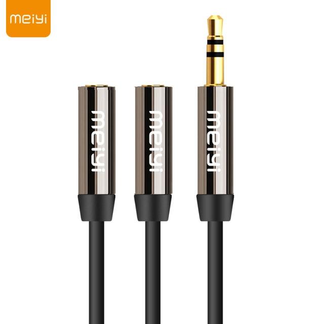 MEIYI 3.5mm Jack Aux Audio kabel 1 męski na 2 żeńskie rozdzielacz do słuchawek Y przedłużacz kabla dla samochodów tablet z funkcją telefonu kabel Audio