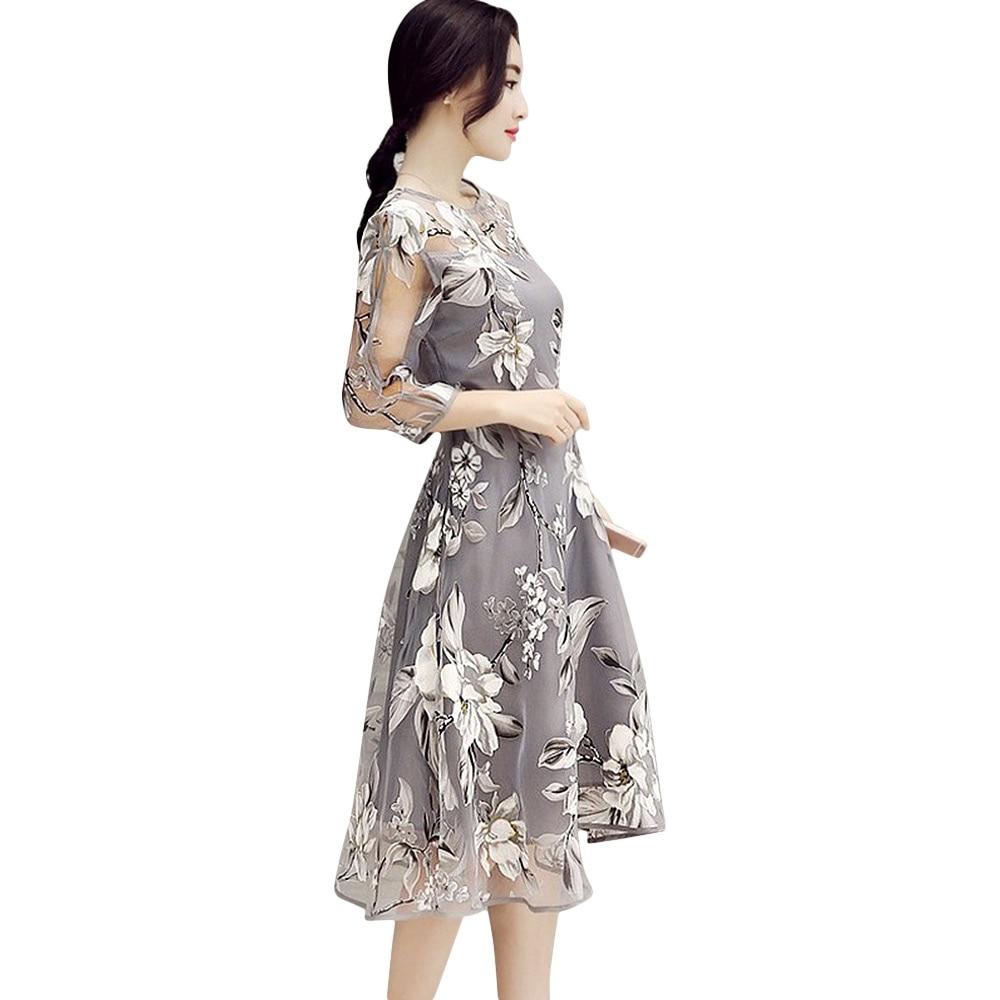 VESTLINDA Retro Vintage Kleider 50 s 60 s Rockabilly O Neck 3/4 ...