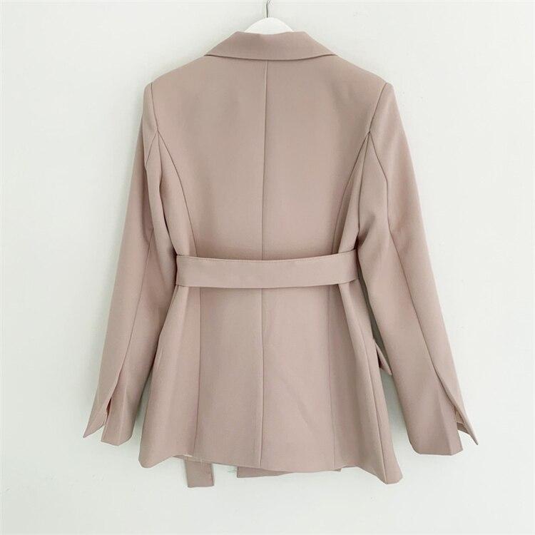 HTB12hEqbkT2gK0jSZPcq6AKkpXar Colorfaith New 2019 Autumn Winter Women Jackets Office Ladies Lace up Formal Outwear Elegant Solid Pink Black Tops JK7042