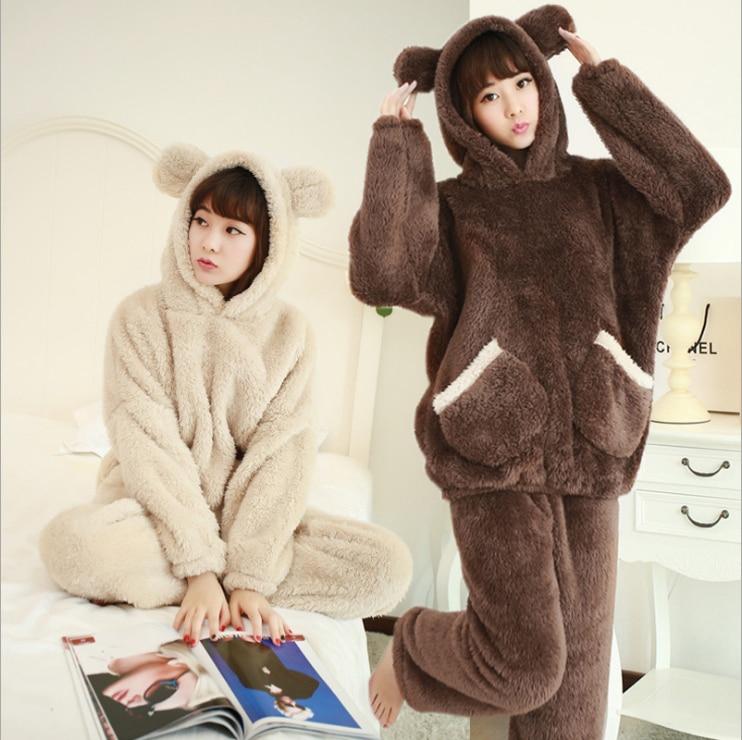 2018 New Autumn Winter Women Flannel Pajamas Set Bear Hooded Pajamas Sleepwear Coral Fleece Thickened Warm Pyjamas Home Clothing