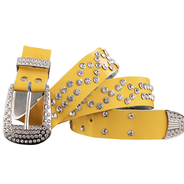 2017 New Fashion Belt female Genuine leather belts women Luxury rhinestone Second layer Cow skin strap woman Wide women's girdle