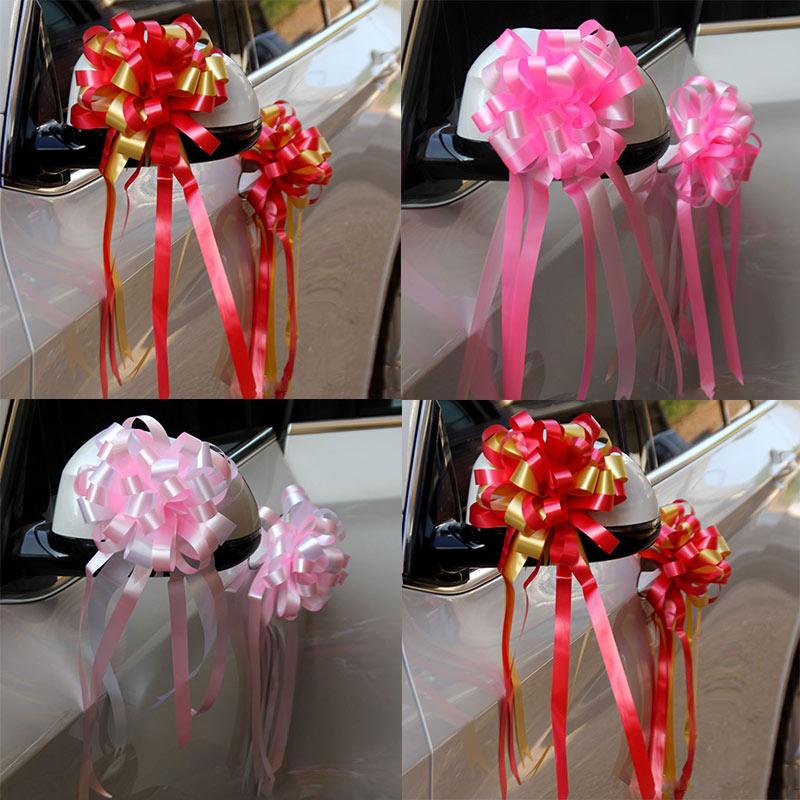 10Pcs Colorful Ribbon Flowers Bows Wedding Party Decor DIY Craft Car Wrap New