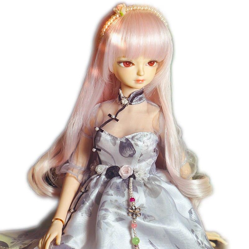 Corps articulaire de poupée BJD 45 cm avec robe Sexy et cheveux longs doux rose 18 pouces poupées BJD mignonnes maquillage à réaliser soi-même avec ensemble de main A & B