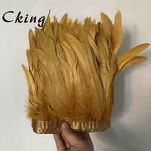 2 meters 6-8inch Gold rooster feather trims 15-20cm diy chicken plumes fringe trimming sewed on satin ribbons lace 100pcs/meters