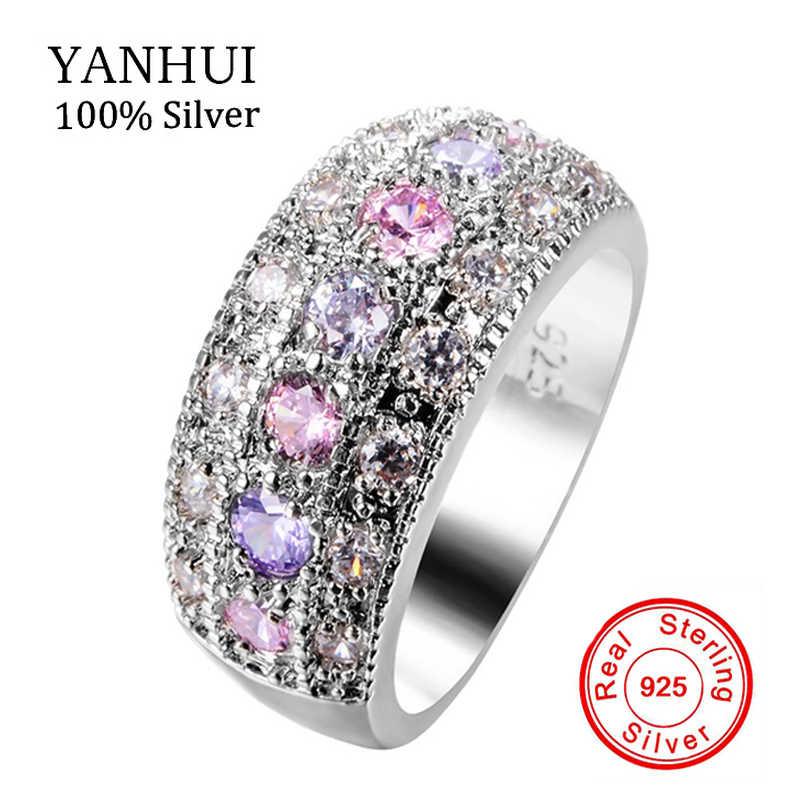 YANHUI Gốc Màu Hồng & Tím CZ Diamant Solitaire Vòng 925 Sterling Silver Bạc Trang Sức Cưới Engagement Rings Cho Phụ Nữ KZLR01