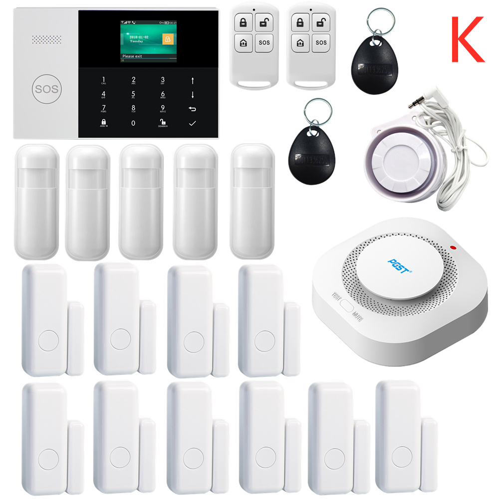 433MHZ IOS Android APP Remote Control LCD Touch Keyboard Wireless WIFI SIM GSM RFID Home Burglar Security Alarm System Sensor(China)