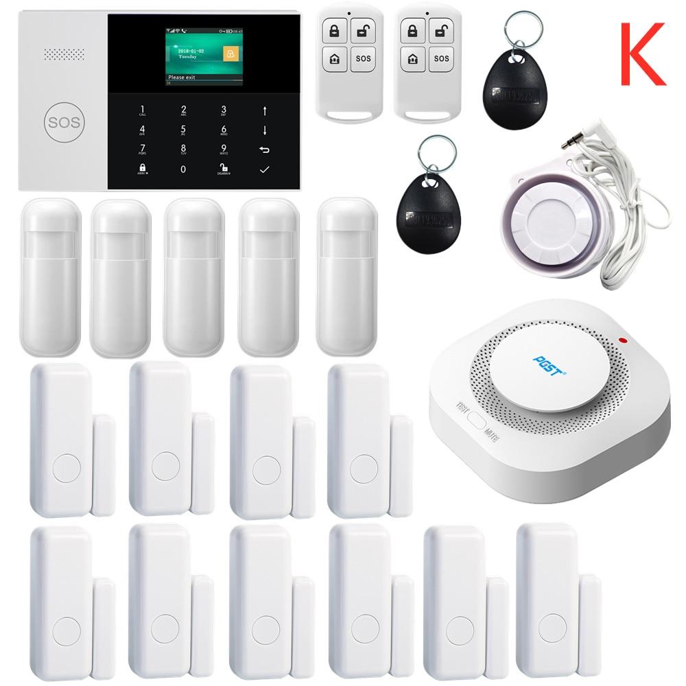 433 MHZ Android IOS APP Controle Remoto LCD Teclado de Toque Sem Fio WI-FI SIM GSM RFID Sistema de Alarme de Segurança Em Casa de Assaltante sensor de