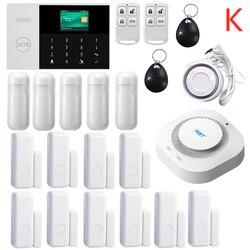433 MHZ IOS Android APP Telecomando LCD Touch Tastiera Senza Fili WIFI SIM GSM RFID Antifurto Casa Sistema di Allarme di Sicurezza sensore