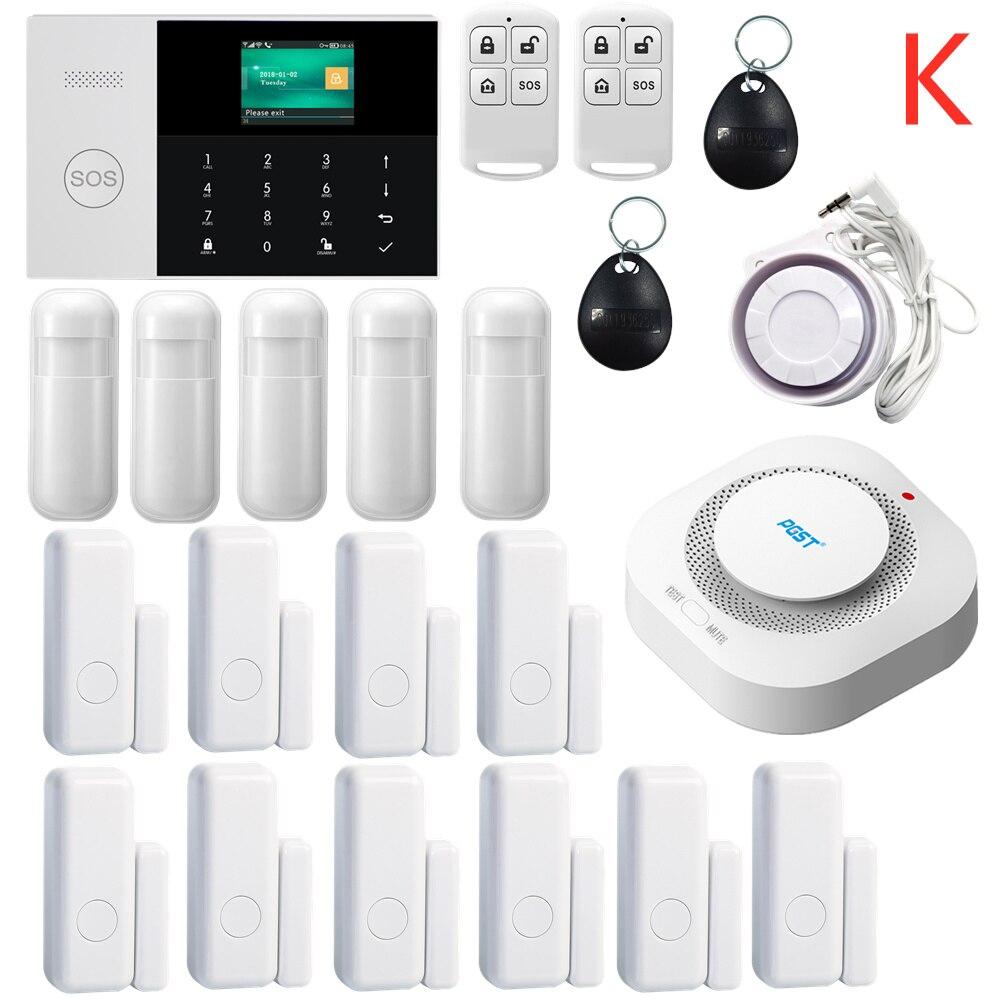 433 MHZ IOS Android APP télécommande LCD tactile clavier sans fil WIFI SIM GSM RFID maison cambrioleur sécurité système d'alarme capteur