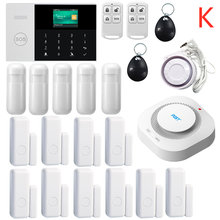 433 MHZ IOS Android APP รีโมทคอนโทรล LCD Touch คีย์บอร์ดไร้สาย WIFI SIM GSM RFID Home Burglar Security Alarm System sensor(China)