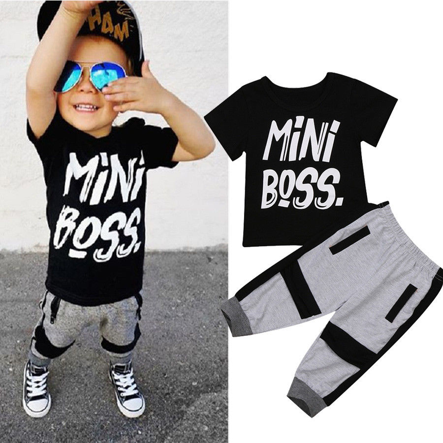 Fashion Toddler Kids Baby Boy Short Sleeve MINI BOSS Letter Print Black T-Shirt Tops PantsCute Summer Outfits Clothes 2Pcs Set 2018 casual toddler baby boy clothes set short sleeve t shirts tops camouflage pants 2pcs outfits roupas infantis menina 10 12