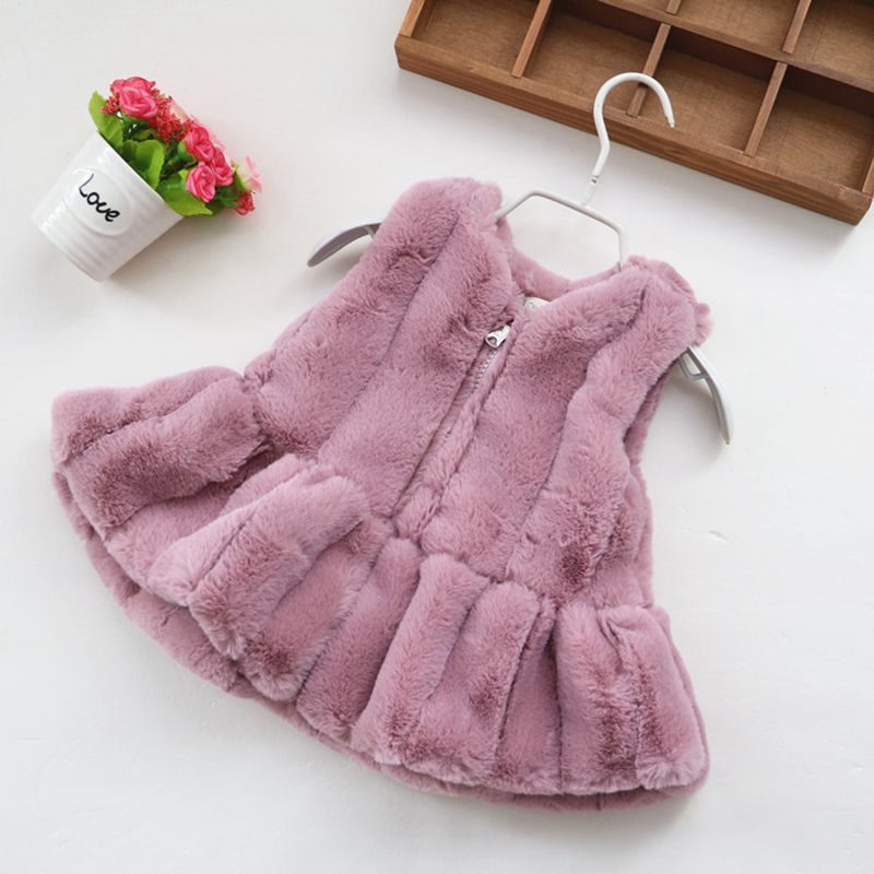 Baby Girls Faux Fur Vest Children Clothing Long Fur Girls Waistcoat Autumn Winter Thick Warm Vest Outwear TZ206