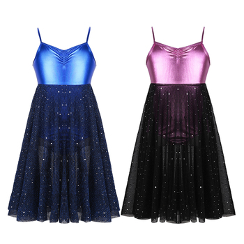 Kids Girls Ballet Dance Dress Shiny Sequins Mesh Ballet Dance Gymnastics Leotard Dress for Stage Performance Dancewear Clothes