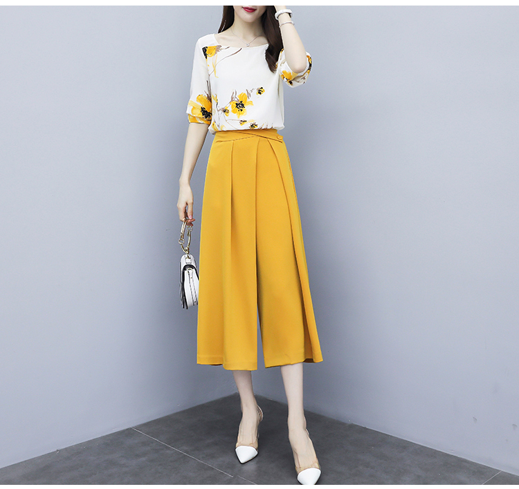 Yellow Summer Chiffon Two Piece Sets Outfits Women Plus Size Printed Blouses And Wide Leg Pants Suits Office Elegant 2 Piece Set 29