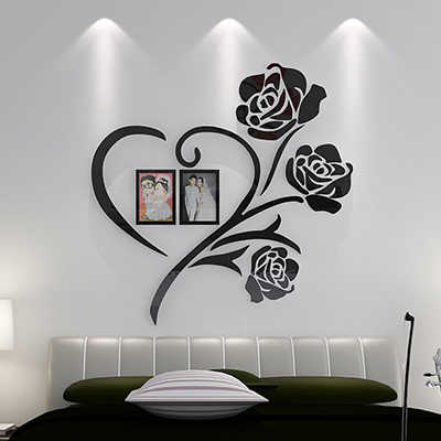 Love Heart Flowers Frame Painting 3D Crystal Acrylic Cheap Wall stickers  Bedroom wall Hangings sticker Mural Wedding decor Gift