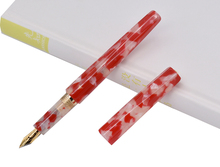 Fuliwen Marble Celluloid Fountain Pen Rhombus Beautiful Red Flower, Iridium Golden Medium Nib Business Office School Supplies dika wen luxury fashion beautiful golden carving mahogany paint medium nib roller ball pen new