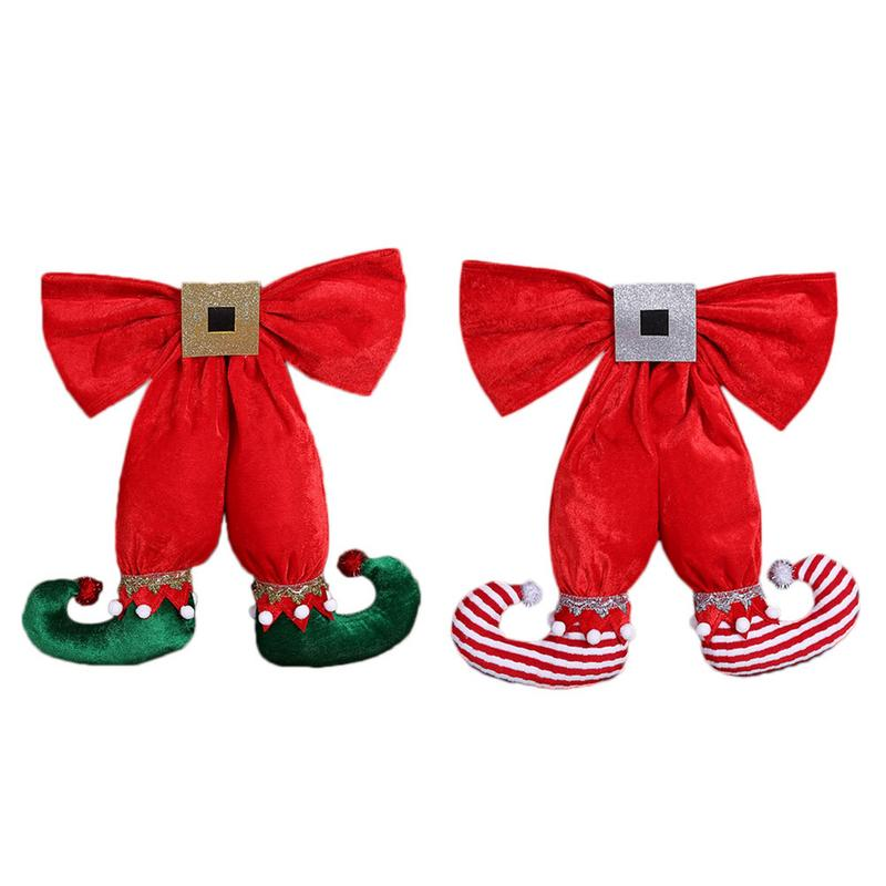 American Style Cute Elf Foot Shape Bowknot Christmas Decoration Pendant Hotel Christmas Tree Decorations Fast Delivery