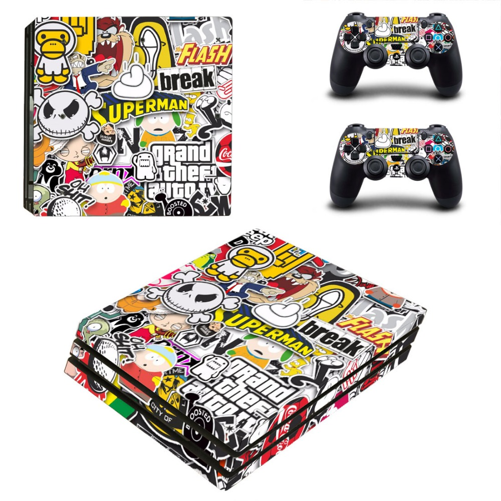 GTA 5 Vinyl Decal Skin PS4 Pro Sticker Cover For Sony Playstation 4 Pro Console and Controllers