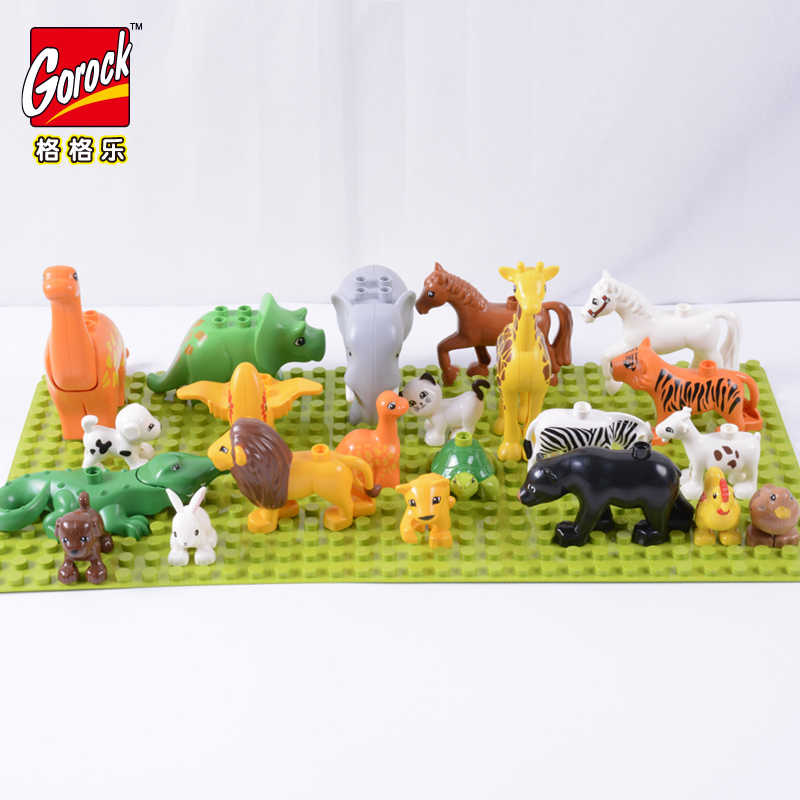 GOROCK 28 Style Animal Model Figures Building Block Set monkey Horse rabbit Ocean world toys for children Gift Brinquedos