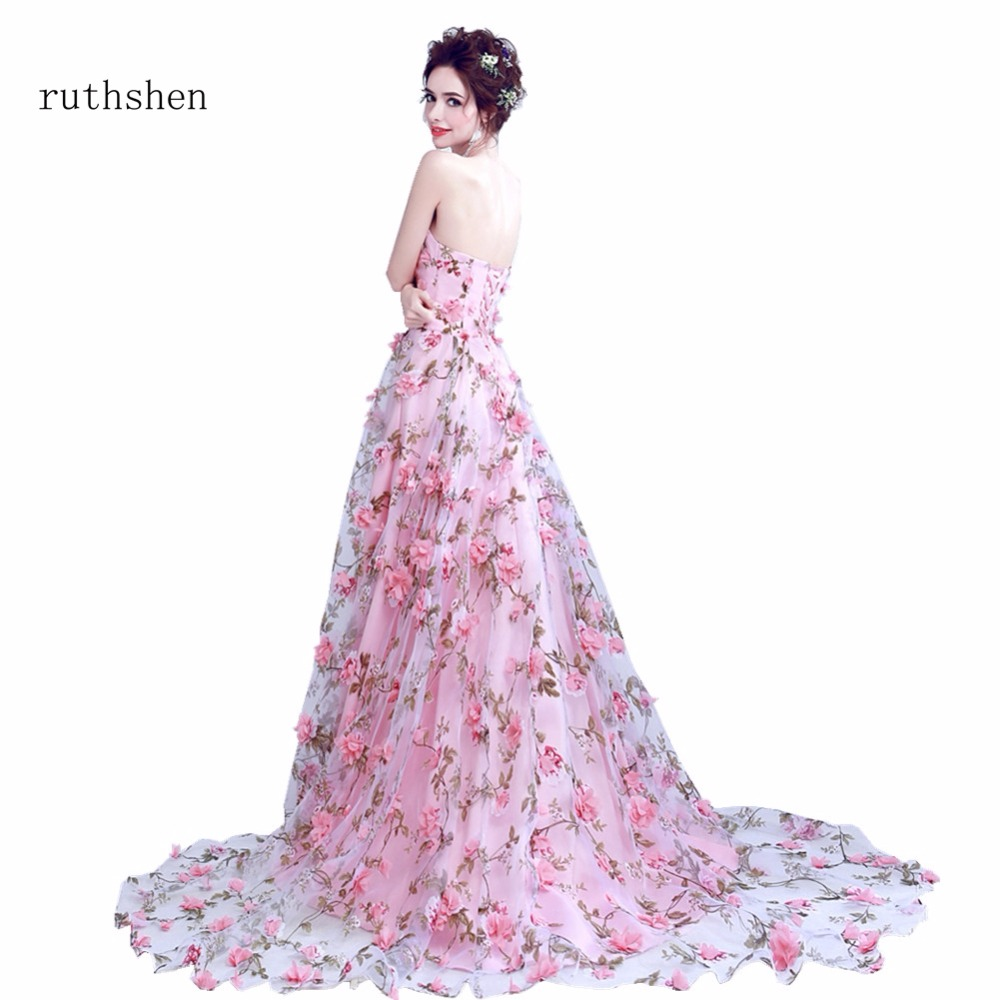 Fashion Sweet Pink Flowers Evening Dress Sexy Strapless A Line Evening Gowns Floor Length Backless Banquet Party Fromal Gowns