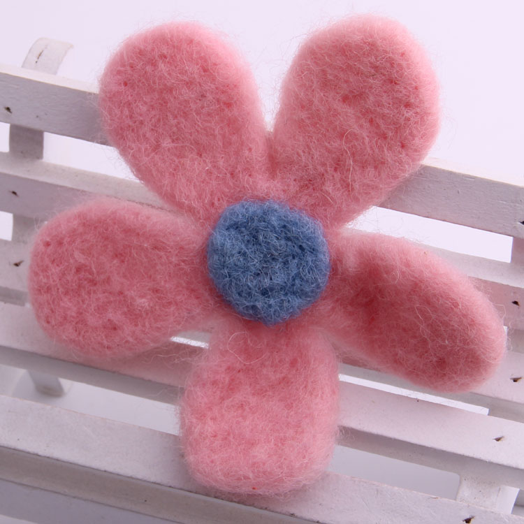 2018 Fashion hair accessory for kid spring colors flower hair pin wool felt bloom barrette summer posy hair clips for girls 2pcs opal flower pair hair sticks jiao xiao also pinchcock classical hair stick vintage jewelry hanfu costume hair accessory