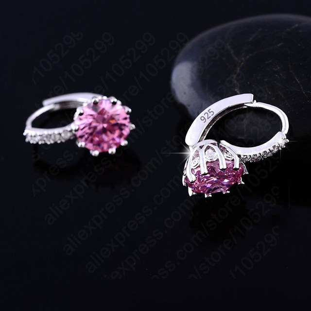 Women Earrings Genuine 925 Sterling Silver AAA Cubic Zirconia