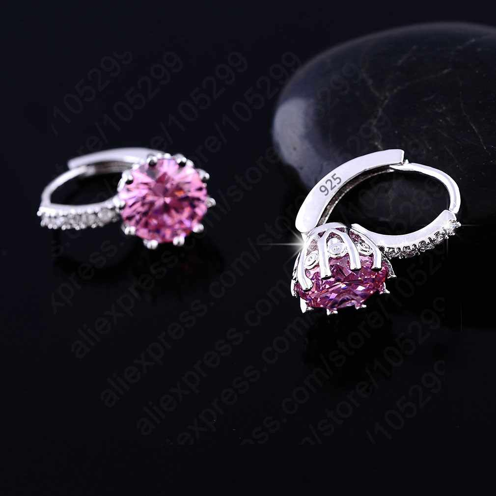 Luxury Colorful Best Genuine 925 Sterling Silver Jewelry AAA Cubic Zirconia CZ Earrings Women Part Accessories Gift