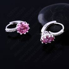 Luxury Colorful Best Genuine 925 Sterling Silver Jewelry AAA Cubic Zirconia CZ Earrings Women Part Accessories Gift(China)