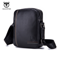 BullCaptain Soft Genuine Leather Men Messenger Bag Male Zipper Man Fashion Crossbody Shoulder Bags Men's Travel Small Handbags