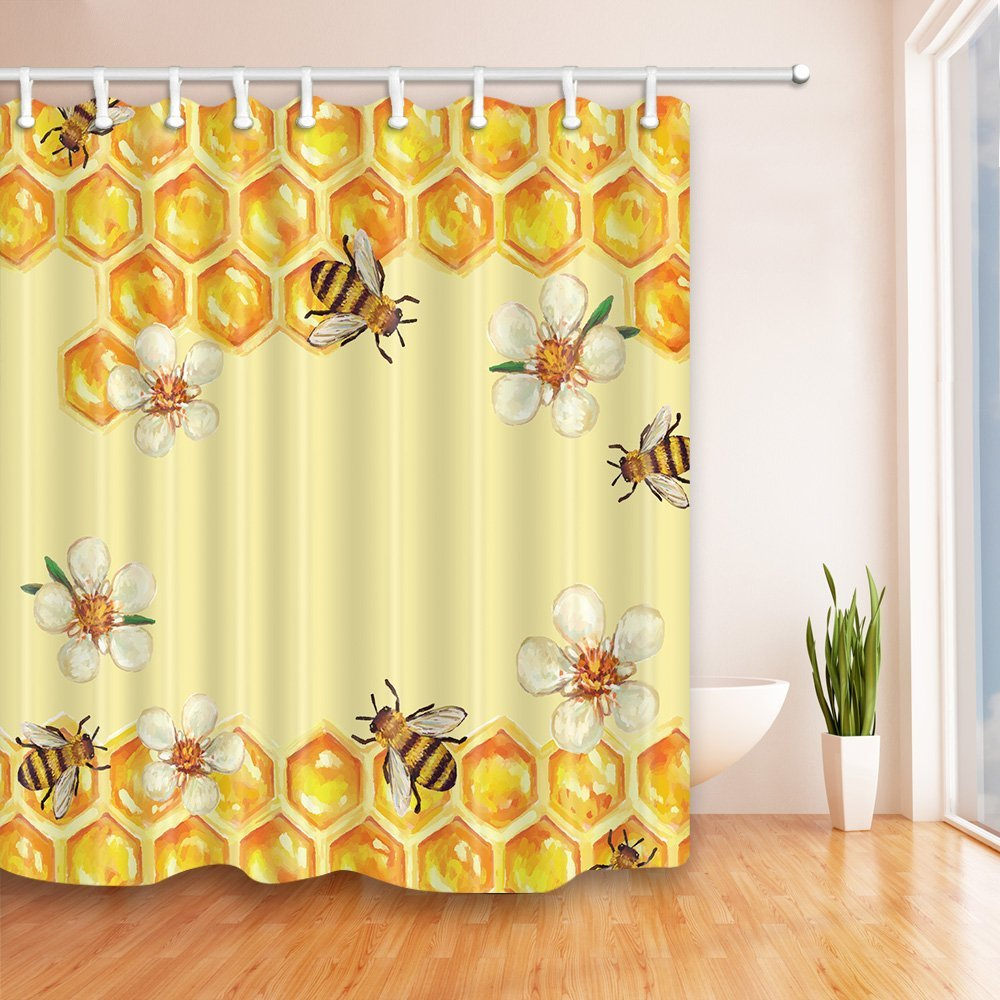 bee in flower take honey shower curtain waterproof polyester fabric bathroom fantastic decorations bath curtains hooks included