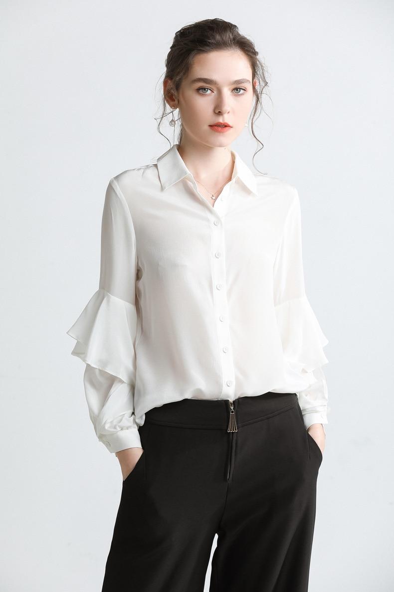 Pura Cuello blanco Mujer Pasarela De Con Larga La Negro Seda Manga 2019 Blusa 100 Volantes Camisas U8wSqAn5