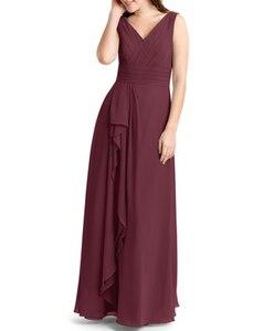Image 5 - Robe Demoiselle Dhonneur Burgundy Bridesmaid Dresses 2020 Long Chiffon Dress for Wedding Party Women Wedding Guest Dress